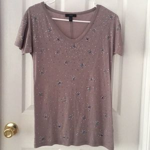 J. Crew Taupe Iridescent Jeweled T-Shirt Size XS